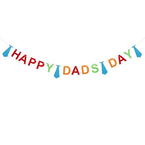 VALICLUD Creative Happy Dads Day Greetings Banner Necktie Paper Garland for Father's Day Decoration