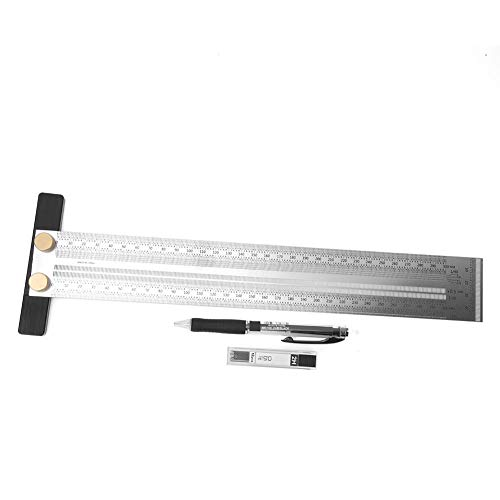 Garosa Anreißlineal Edelstahl T-Loch Lineal Präzisionsmarkierung T-Rule Carpenter Messwerkzeug zum Positionieren und Markieren von Tischler-Einsteckschlitzen mit automatischem Bleistift(300mm)