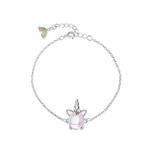 Regenbogen Einhorn Mädchen Armband Silber Hellrosa Sekt für kleine Kinderschmuck Geschenke Geburtstagsfeier mit Geschenkbox aus Samt (Armband)