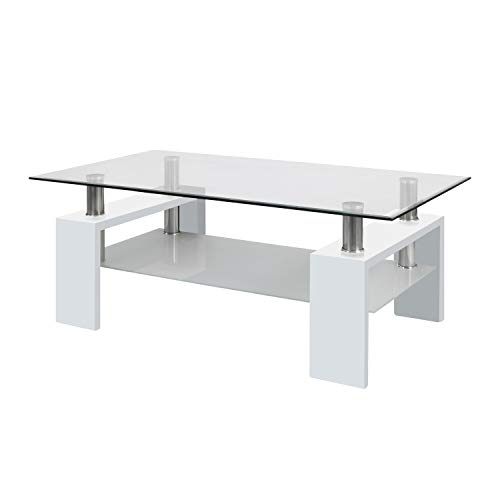 duehome Mesa Centro Moderna de Cristal, Mesita de Salon, Color Blanco Brillo, Medidas: 110 cm (Largo) x 60 cm (Ancho) x 45 cm (Altura)