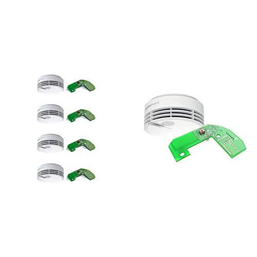 Hekatron 31-5000021-13-01 Rauchmelder Genius PLUS X inkl. Funkmodul Basis X - Optional funk-vernetzbar -10 Jahre Lebensdauer der Batterie & mehrfarbig LED - Rauchwarnmelder in Weiß - 4er Set + 1er Set