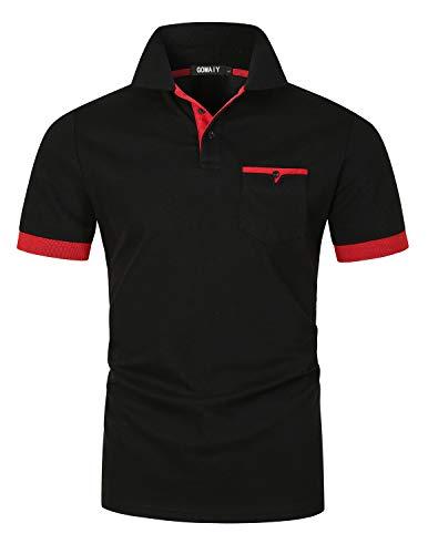GOMAIY Poloshirts Herren Kurzarm Golf Poloshirts mit Tasche Kontrastfarbe Ausschnitt Baumwolle Basic T-Shirt Polohemd Sommer,Schwarz,L