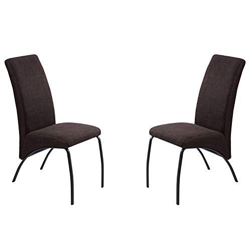 Adec - Mine, Pack Dos sillas de Comedor, Cocina o Comedor, Silla tapizada en Tejido Color Chocolate, Medidas: 54,5 cm (Ancho) x 44,5 cm (Fondo) x 84 cm (Alto)