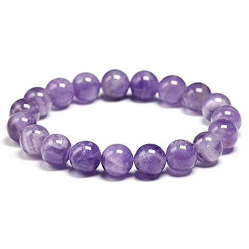 CHJJHH Pulsera De Cuentas Natural Dream Amethysts Quartz Light Purple Gemstone Pulsera Mujer con Cuentas Pulsera Elástica Regalo Jewelry Beads 10Mm 18Cm 7 0Inch