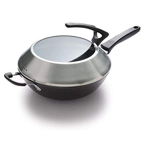 NXYJD Cast Iron Wok, non couché à fond rond Pot, Oreille Double cuisson Cuisinière Pot, gaz approprié