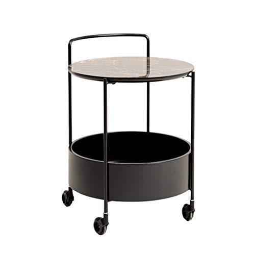Aufbewahrungsregal Home Sofa Beistelltisch Keramik Ecke Tischplatte Couchtisch Bewegliche Trolley Mit Aufbewahrungsbox Doppelablage Aufbewahrung & Organisation ( Color : Black , Size : 45*45*63cm )