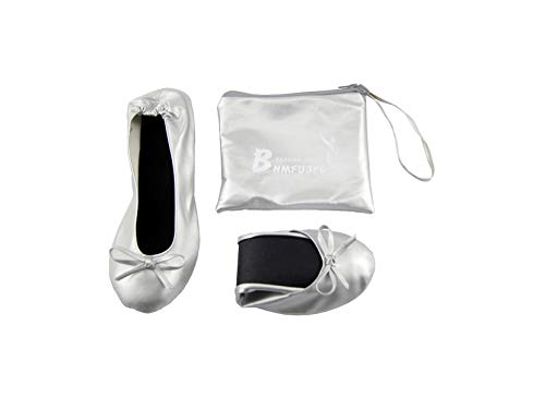 UOOVNFGO Carrying Pouch Foldable Wedding Flats Classic Ballet Look Flats Roll Up Walking Shoes Slip (Silvery  x_l)