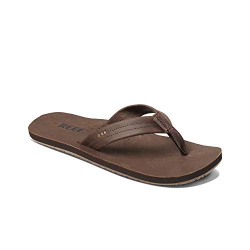 Reef Men's Leather Sandals Draftsmen | Bottle Opener Flip Flops for Men with Soft Cushion Footbed | Chocolate | Size 10
