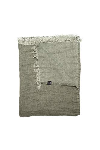 Himla Hannelin Plaid Bettüberwurf Tagesdecke Decke - 130x170 cm - Farbe: Herbary - Grau - Knitteroptik - 100% gewaschenes Leinen