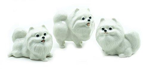 Grandroomchic Animal Miniature Handmade Porcelain Statue 3 White Pomeranian Dog Figurine Collectibles Gift
