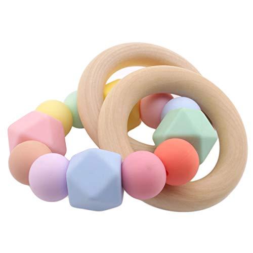 Promise Babe Silikon Perlen Baby Zahnen Nursing Zubehör Armband Hölzern Ring Montessori Spielzeug Baby Dusche Geschenk Zuhause Spielzeug
