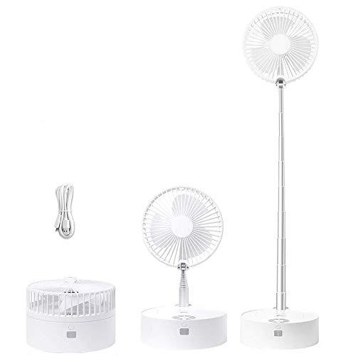 Ventilador de piso, ventilador de mesa, ventilador de pie, ventilador pequeño silencioso y potente para dormitorio para carga de teléfono, al aire libre, oficina, mochilero, color blanco