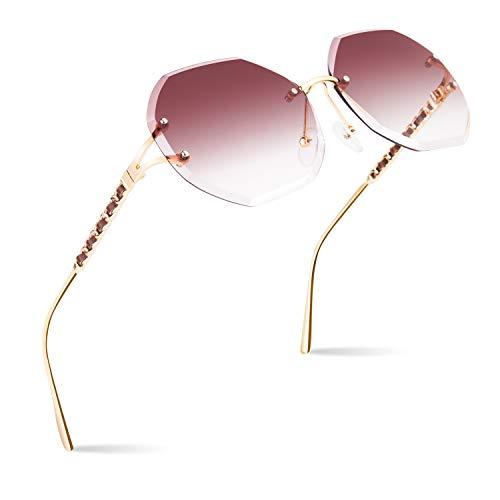 CGID Sonnenbrille für Frauen Randlos Sonne Brille für Damen Randlose Brille UV400 Schutz Dunkle Gläser 100% UV 400 Brille für Fahren Diamantschnitt Metall Schläfe Leder Verzierung Braun Linse