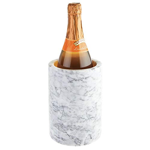 mDesign Natural Marble Stone Wine Bottle Cooler Chiller - Elegant Utensil Tool Holder Crock, Decorative Vase - White/Gray