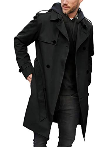 Mens Classic Fit Trench Coat Long Double Breasted Overcoat Outerwear Pea Coat Lapel Belted Outwear Black