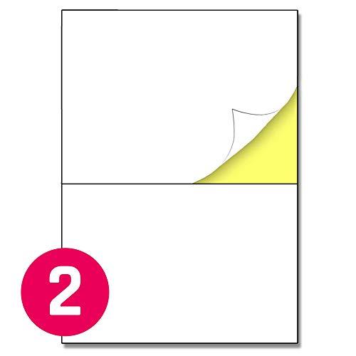 148,5 x 210 mm (A5), 25 Blatt, A4 Aufkleber Etiketten Selbstklebend Versandaufkleber - 2 Stück pro Blatt