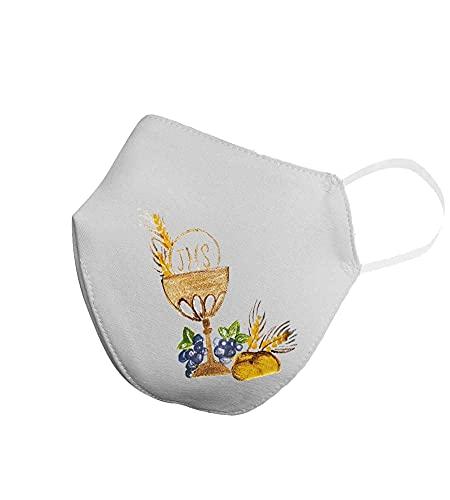 Copri Mascherina bianca lavabile per Prima Comunione Bambino Bambina personalizzata con nome Dipinta a mano