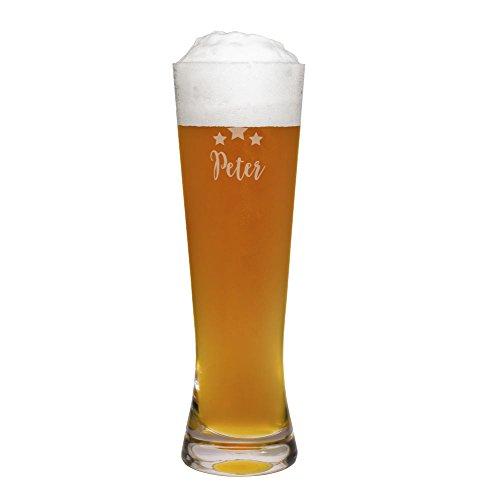 printplanet® Weizenglas mit Namen Peter graviert - Leonardo® Weißbierglas mit Gravur - Design Sterne