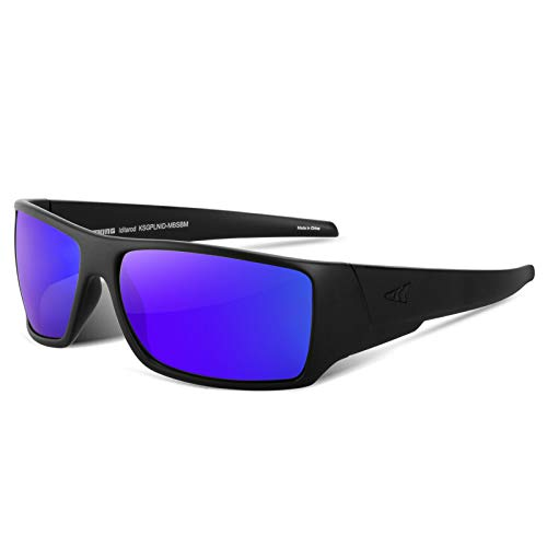 KastKing Iditarod Polarized Sport Sunglasses for Men and Women, Matte Blackout Frame, Smoke Base Cobalt Mirror