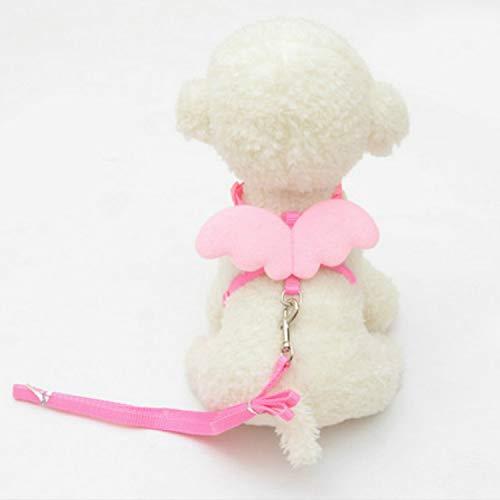 QYYPet touw huisdiertouw leuke engel pet hondenriem verstelbaar linnen huisdieraccessoires, grootte: XS (rood), roze
