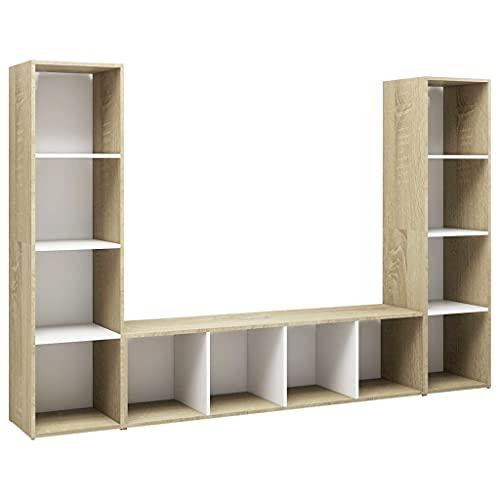 vidaXL 3X Muebles TV Soporte Mobiliario Aparador Estante Salón Sala de Estar Dormitorio Decoración Aglomerado Blanco Roble Sonoma 142,5x35x36,5cm