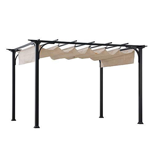 Sunjoy A106005600 Jalen 10 x 8 ft. Steel Classic Pergola with Adjustable Shade, Beige