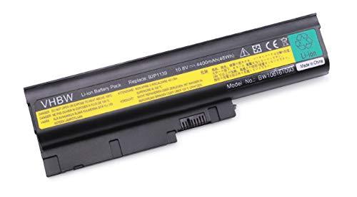 vhbw Li-Ion Akku für IBM Lenovo ThinkPad T500, T60, T61, T61i, T61p, W500 Notebook Laptop wie 40Y6795, 40Y6797, 40Y6799 - (4400mAh, 10.8V, Schwarz)