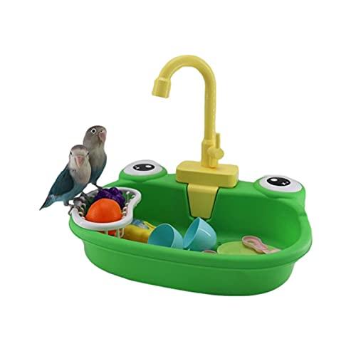 JHDS Bañera De Loros para Mascotas - Loro De Bañera Automática con Grifo - Bañera De Aves Bañera - Bañera Automática De Pájaro Piscina Juguete - Alimentador De Aves Pájaro Banco Juguetes