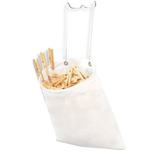 Smart Design Clothespin Bag w/ Steel Hanging Hook - TNT Non-Woven Material - for Clothespins, Multipurpose Use, & Misc. Item - Home Organization (13 x 11 Inch) [White]