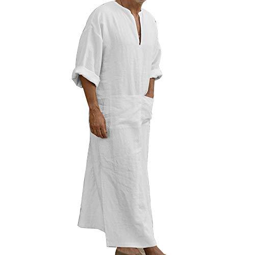 Dihope - Vestito da Caftan casual, etnico, vintage, da uomo, lungo, stile musulmano, a maniche lunghe, tunica, stile retrò, stile mediorientale, in arabo, stile vintage bianco XXL