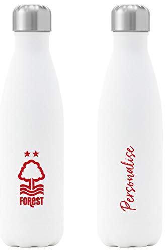 Personalised Nottingham Forest FC Crest Insulated Water Bottle - White
