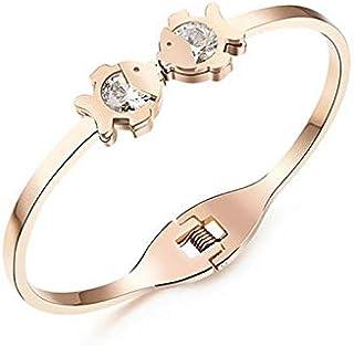 OPK Korean Style 18k Rose Gold Plating Women Bracelet Fish Design Crystal Bracelet For Female