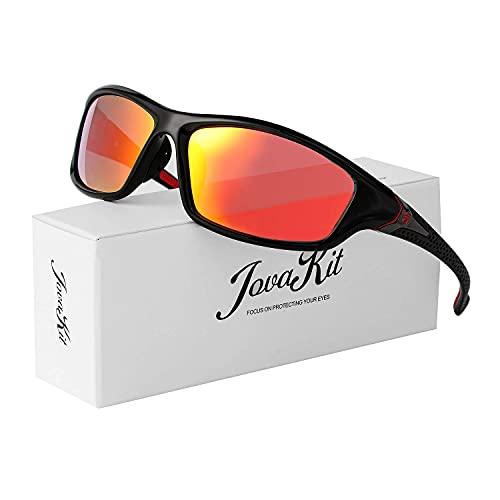 Gafas de sol deportivas polarizadas para hombres y mujeres, ciclismo, conducción, pesca, correr, 100% protección UV (espejo negro/rojo)