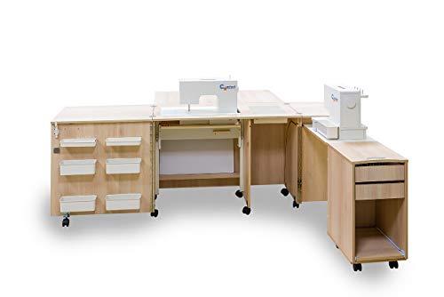 Comfort 4 | Mueble para máquina de coser | (Lakeland Acacia Light, M (Air-Lifter 10kg))