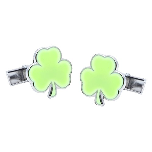 Funky Cufflinks.com Shamrock Manschettenknöpfe die Glow in The Dark