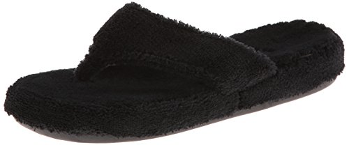 Acorn Women's Spa Thong with Premium Memory Foam, Black, 6.5-7.5 Wide