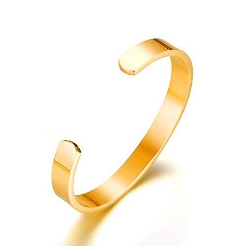 Yazilind Titan Stahl Armband westlichen Punk-Stil Glatte offene Armreif für Männer Durchmesser 64mm (Gold)