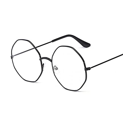 Tanxianlu Moda Vintage Retro Marco de Metal Dorado Lentes Transparentes Gafas Nerd Geek Gafas Gafas Pequeño círculo Redondo Gafas,Black
