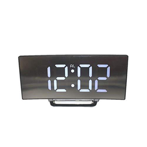 Digitale LED-wekker Snooze-display Tijd Nacht Led-tafel Bureau 2 USB-laderpoorten voor iphone Android-telefoon Wekker Spiegelklok, wit
