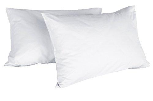 Italian Bed Linen Max Color Coppia di Federe Tinta Unita, 100% Cotone, Bianco, 52 x 82 cm