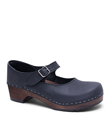 Sandgrens Swedish Low Heel Wooden Clogs for Women with Leather Upper US 995 | Mary Jane Black DK EU 40