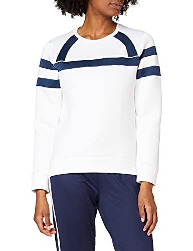 Amazon-Marke: AURIQUE Damen Neopren Sweatshirt, Weiß (White/Dress Blue), 40, Label:L