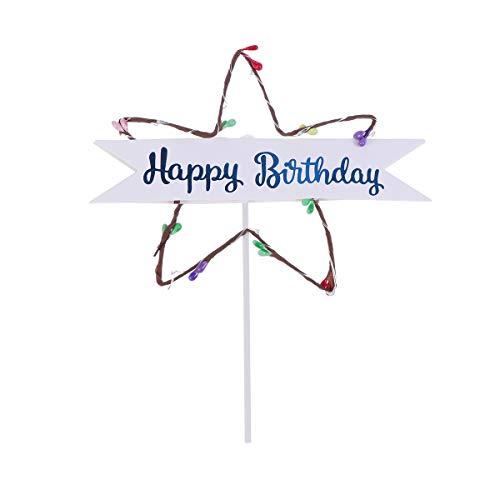 Amosfun LED Leuchtende Stern Kuchen Topper Happy Birthday Cake Topper Tortenstecker Tortendeko Kuchendeko für Baby Mädchen Kinder Geburtstag Party Deko (Blau)