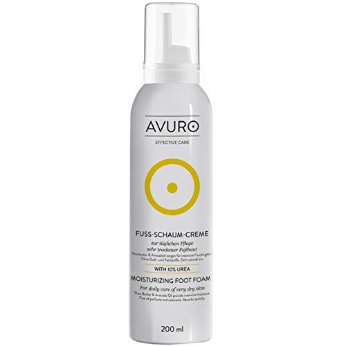 AVURO Fuß-Schaum-Creme, mit 10% Urea, zur täglichen Pflege sehr trockener Fußhaut, 200 ml