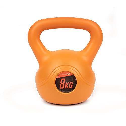Phoenix Fitness Unisex RY932 Vinyl Kettlebell - Heavy Weight Kettle Bell for Strength and Cardio Training, Orange, 8KG