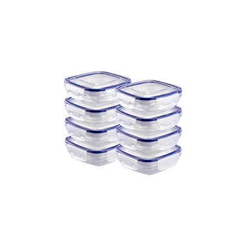 Grizzly Frischhaltedosen Set Quadratisch flach 8 x 350 ml Vorratsdosen mit Deckel 100% Luft-und Wasserdicht