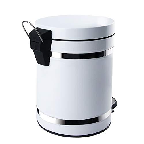 Cubo de Basura de Interior Pedal bote de basura con tapa 5L / 1.3 galones Hogar Aseo oficina de clasificación y limpieza bote de basura de metal redondo de residuos de papel blanco Cesta Papeleras de