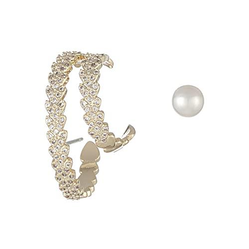 Pendientes de perlas asimétricas microincrustadas, pendientes de doble capa de amor, pendientes de temperamento