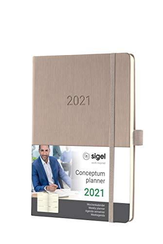 SIGEL C2160 Terminplaner Wochenkalender 2021, ca. A5, Hardcover, taupe, mit vielen Extras, Conceptum - weitere Modelle