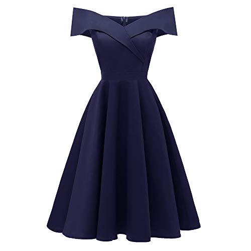 KPILP Frauen Elegantes Kleid 1950er Vintage Spitze Formale Prinzessin Aline Petticoat Floral Cocktail V-Ausschnitt Party Schaukel(Marine,EU-44/CN-2XL